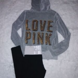 M PINK Outfit Sweatshirt Leggings sequin
